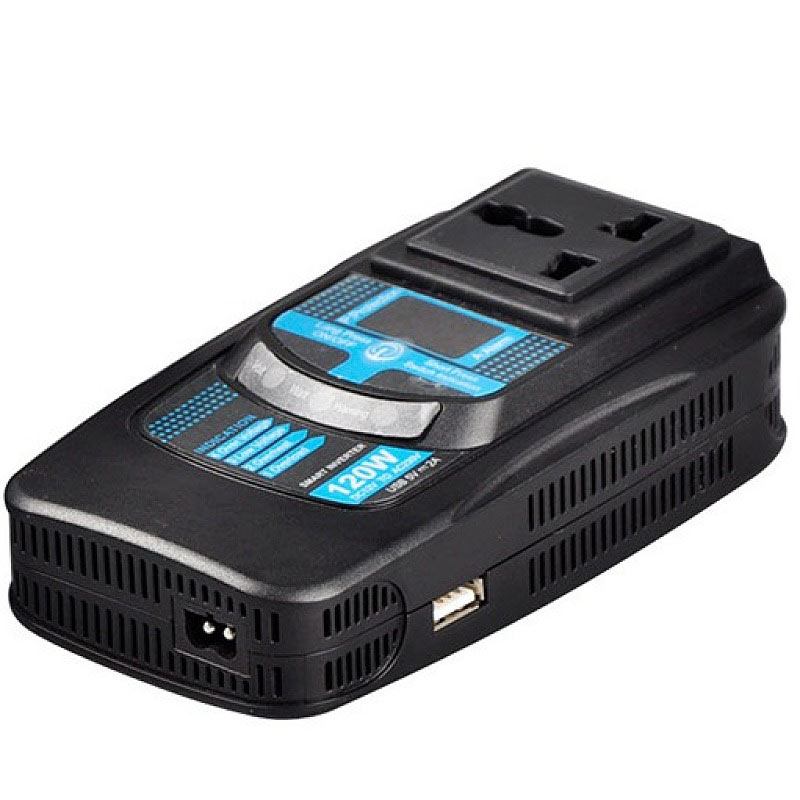 PID120-120W Power Inverter LCD Display Adapter With 5V2.1A USB